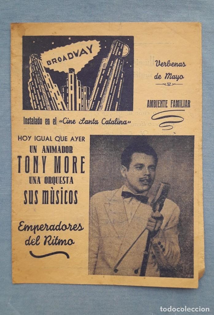 CINE SANTA CATALINA (SEVILLA). ACTUACIÓN DE TONY MORE 'FAMOSO CANTOR RADIOFÓNICO' (Cine - Reproducciones de carteles, folletos...)