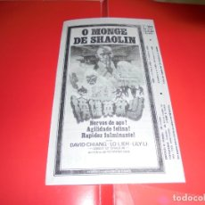 Cine: O MONGE DE SHAOLIN - (ABBOT OF SHAOLIN) - DAVID CHIANG - ORIGINAL PANFLETO DE CINEMA. Lote 178623367
