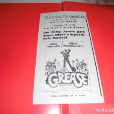 Cine: GREASE - JOHN TRAVOLTA, OLIVIA NEWTON-JOHN - ORIGINAL PANFLETO DE CINEMA. Lote 178628810