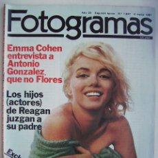 Cine: MARILYN MONROE. ROGER MOORE. ANTONIO GONZÁLEZ. REVISTA FOTOGRAMAS 1981.. Lote 178981027