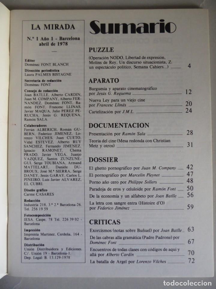 Cine: Revista La mirada, textos sobre cine - Completa 1 a 4 (1978) - Foto 7 - 180867522