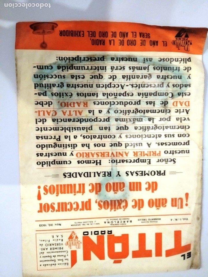 Cine: UNICA - REVISTA EL TITAN, RADIO FILMS BARCELONA 1935, -CON CROMO DE LA PRIMERA PELÍCULA EN COLOR - Foto 3 - 181205815