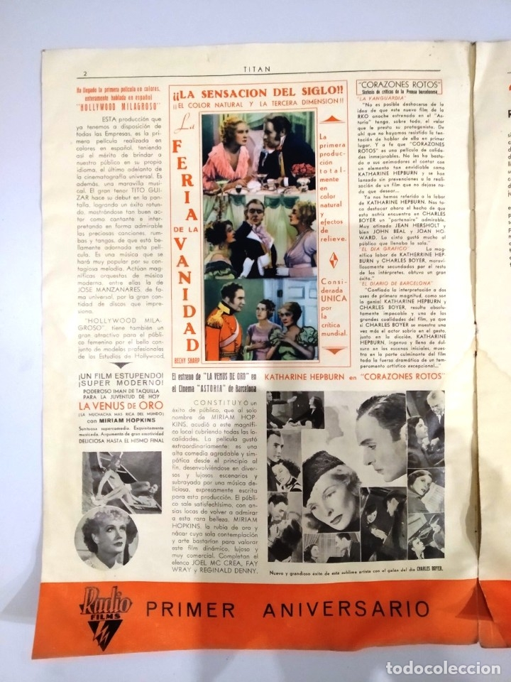 Cine: UNICA - REVISTA EL TITAN, RADIO FILMS BARCELONA 1935, -CON CROMO DE LA PRIMERA PELÍCULA EN COLOR - Foto 2 - 181205815