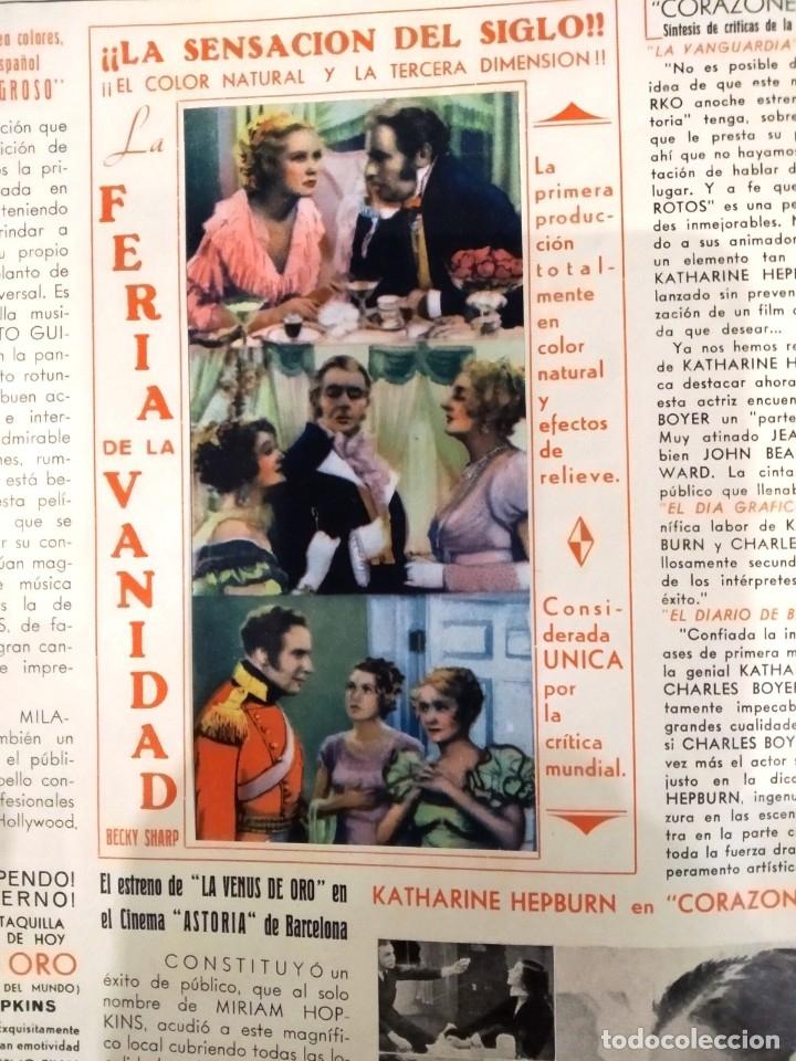 Cine: UNICA - REVISTA EL TITAN, RADIO FILMS BARCELONA 1935, -CON CROMO DE LA PRIMERA PELÍCULA EN COLOR - Foto 4 - 181205815