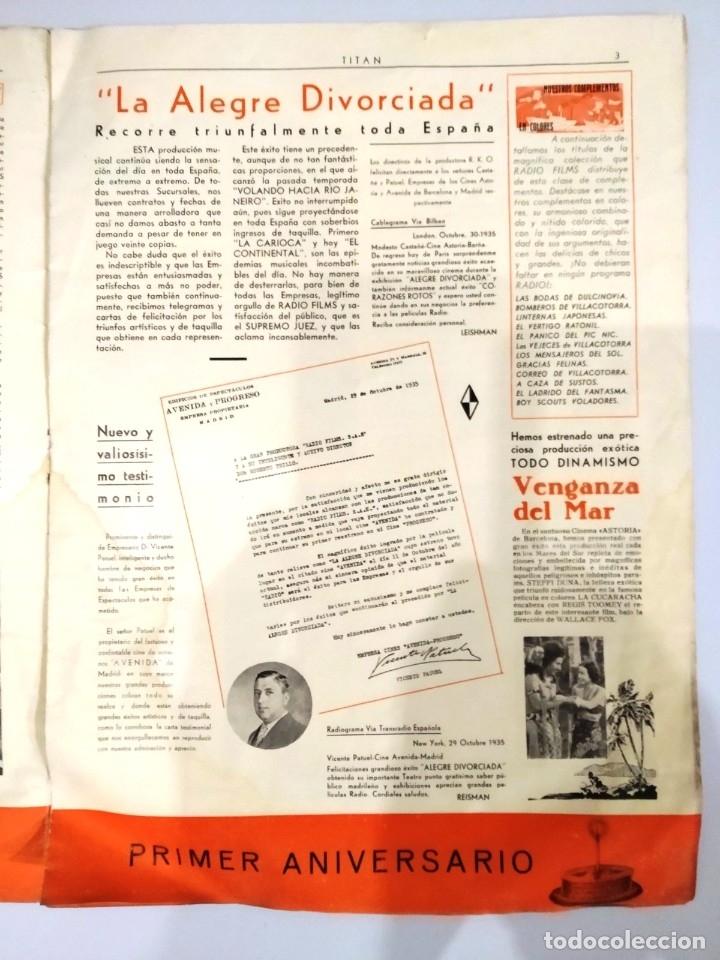 Cine: UNICA - REVISTA EL TITAN, RADIO FILMS BARCELONA 1935, -CON CROMO DE LA PRIMERA PELÍCULA EN COLOR - Foto 5 - 181205815