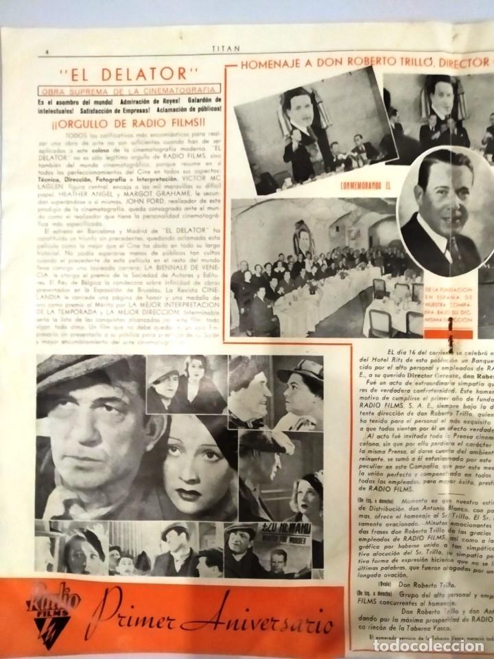 Cine: UNICA - REVISTA EL TITAN, RADIO FILMS BARCELONA 1935, -CON CROMO DE LA PRIMERA PELÍCULA EN COLOR - Foto 6 - 181205815