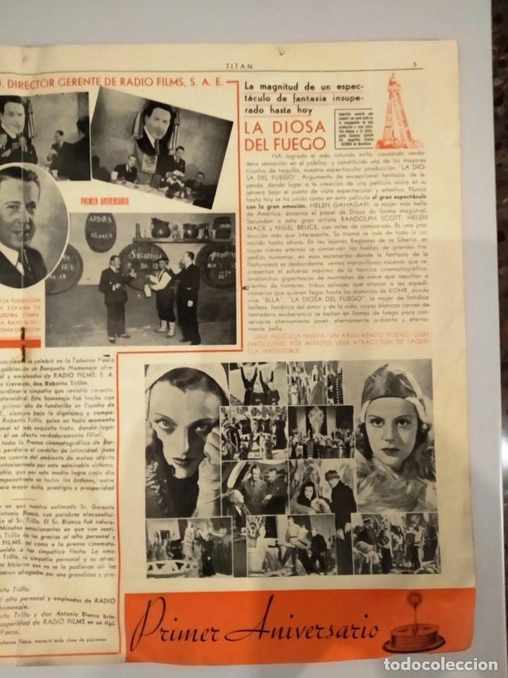 Cine: UNICA - REVISTA EL TITAN, RADIO FILMS BARCELONA 1935, -CON CROMO DE LA PRIMERA PELÍCULA EN COLOR - Foto 7 - 181205815