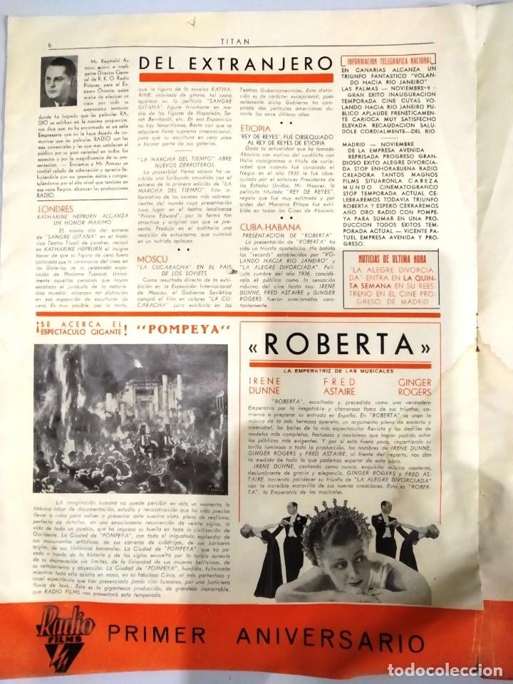 Cine: UNICA - REVISTA EL TITAN, RADIO FILMS BARCELONA 1935, -CON CROMO DE LA PRIMERA PELÍCULA EN COLOR - Foto 8 - 181205815