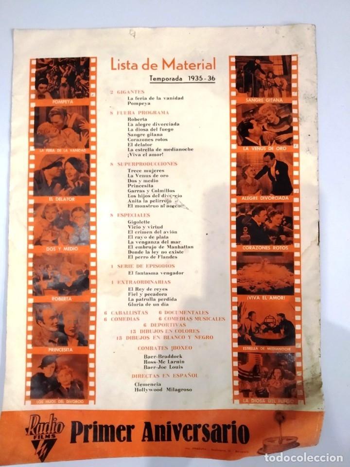 Cine: UNICA - REVISTA EL TITAN, RADIO FILMS BARCELONA 1935, -CON CROMO DE LA PRIMERA PELÍCULA EN COLOR - Foto 9 - 181205815