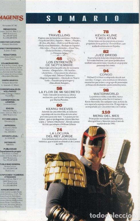 Cine: REVISTA IMAGENES Nº 140 AÑO 1995. KEANU REEVES. STALLONE JUEZ DREDD. KEVIN COSTNER WATEREORLD. - Foto 2 - 181622371