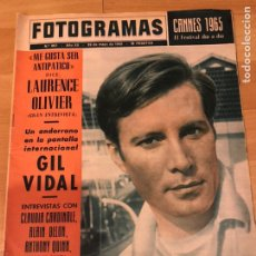 Cine: FOTOGRAMAS MAYO 1965.GIL VIDAL.LAURENCE OLIVIER.CANNES 1965.GINA LOLLOBRIGIDA. Lote 182839925