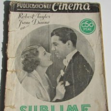 Cine: PUBLICACIONES CINEMA. SUBLIME OBSESIÓN. ROBERT TAYLOR. IRENE DUNNE. Nº1. Lote 184348717