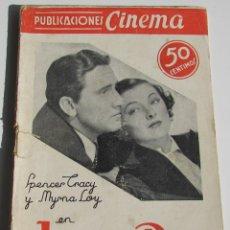 Cine: PUBLIACIONES CINEMA. JAQUE AL REY. SPENCER TRACY. MYRNA LOY. Nº 22. Lote 184349006