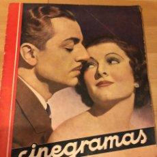 Cine: REVISTA CINEGRAMAS 68 DIECIEMBRE 1935.MYRNA LOY WILLIAM POWELL.GRETA GARBO LINA YEGROS. Lote 185745613