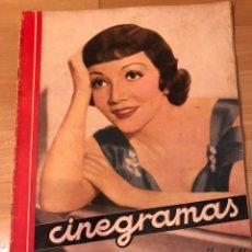 Cine: REVISTA CINEGRAMAS 9 NOVIEMBRE 1934.CLAUDETTE COLBERT.CHARLIE CHAPLIN RONALD COLMAN RAMON NOVARRO. Lote 185746483