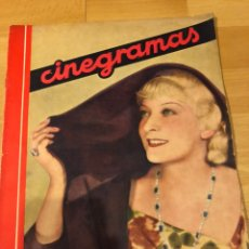 Cine: REVISTA CINEGRAMAS 61 NOVIEMBRE 1935 HILDE HILDEBRAND.JOAN CRAWFORD CLARK GABLE LOUISE RAINER. Lote 185749997
