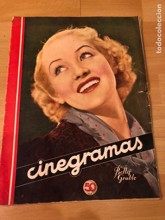 REVISTA CINEGRAMAS 56.OCTUBRE 1935 BETTY GRABLE.DOLORES DEL RÍO.MARLENE DIETRICH IMPERIO ARGENTINA (Cine - Revistas - Cinegramas)
