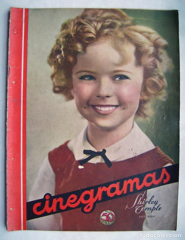 SHIRLEY TEMPLE. MAURICE CHEVALIER. GINGER ROGERS . REVISTA CINEGRAMAS 1936. (Cine - Revistas - Cinegramas)