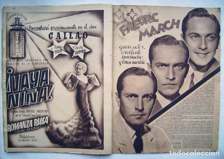 Cine: DOLORES DEL RÍO. CATALINA BARCENA. FREDRIC MARCH . REVISTA CINEGRAMAS 1935. - Foto 5 - 186333631
