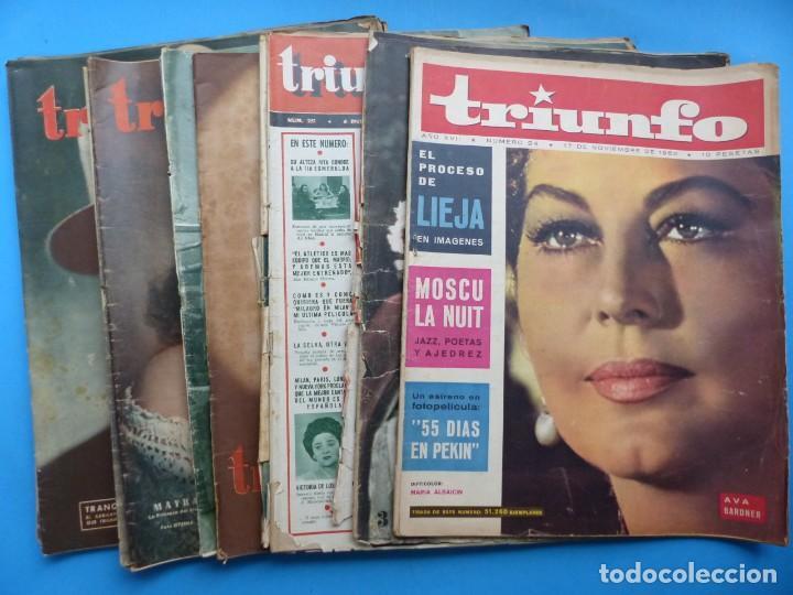 TRIUNFO, 13 ANTIGUAS REVISTAS, AÑOS 1940-1950-1960 - VER FOTOS ADICIONALES (Cine - Revistas - Otros)