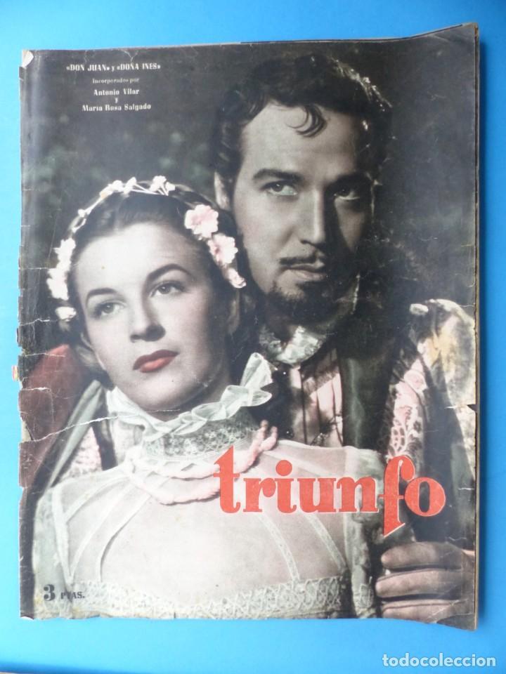 Cine: TRIUNFO, 13 ANTIGUAS REVISTAS, AÑOS 1940-1950-1960 - VER FOTOS ADICIONALES - Foto 3 - 187612441