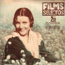Cine: FILMS SELECTOS 14 MARZO 1936 - IMPERIO ARGENTINA. Lote 188305920