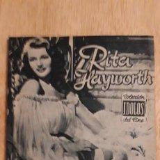 Cine: 1 REVISTA DE CINE ** IDOLOS . RITA HAYWORTH **. N.26 . AÑO 1958. Lote 190933827