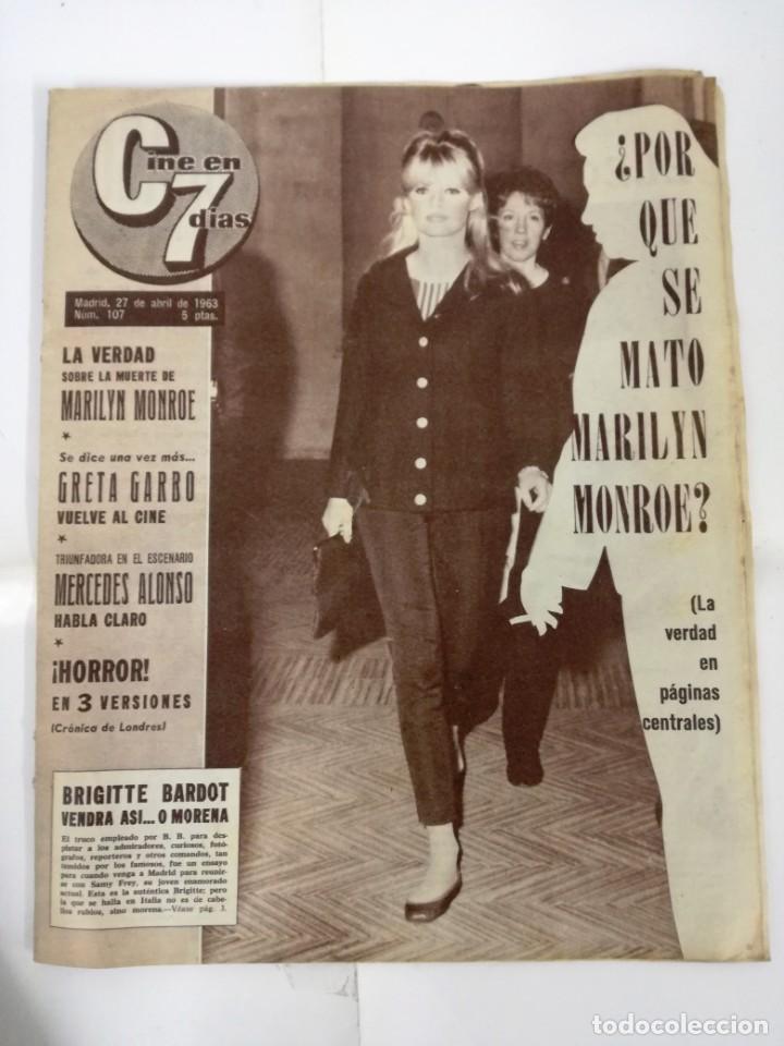 Cine: REVISTA, CINE EN 7 DIAS.GRAN REPORTAJE SOBRE LA MUERTE DE MARILYN MONROE. NO.107.27 ABRIL 1963. - Foto 2 - 191251017