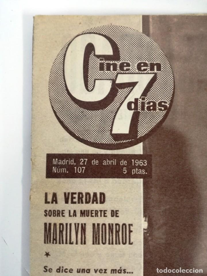 Cine: REVISTA, CINE EN 7 DIAS.GRAN REPORTAJE SOBRE LA MUERTE DE MARILYN MONROE. NO.107.27 ABRIL 1963. - Foto 3 - 191251017