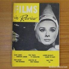 Cinema: FILMS IN REVIEW APRIL 1964. HORS D'OEUVRE, ALAN LADD, LAUREN BACALL, AUDREY HEPBURN.... Lote 191771880