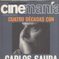 Cine: SUPLEMENRO REVISTA CINEMANIA Nº 74 AÑO 2001. CUATRO DECADAS CON CARLOS SAURA. . Lote 192252561