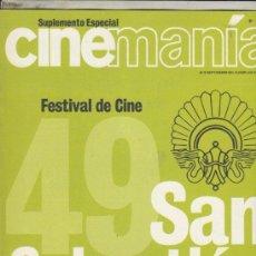 Cine: SUPLEMENTO REVISTA CINEMANIA Nº 72 AÑO 2001. 49 FESTIVAL DE CINE DE SAN SEBASTIAN.. Lote 192252850