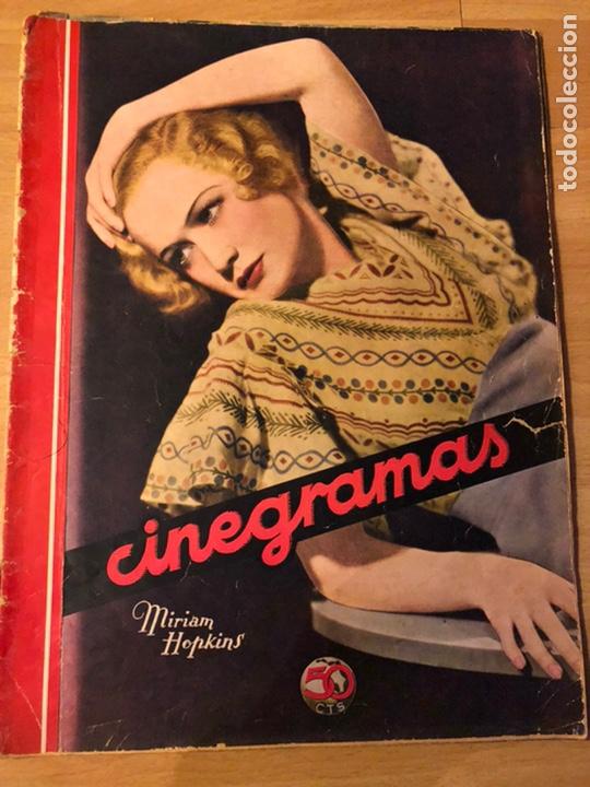 REVISTA CINEGRAMAS SEP 1935 MIRIAM HOPKINS KATHARINE HEPBURN MYRNA LOY GLENDA FARRELL (Cine - Revistas - Cinegramas)