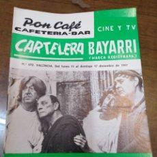 Cine: CARTELERA BAYARRI, PORTADA DE BUSTER KEATON, N-572,AÑO 1967. Lote 192981782