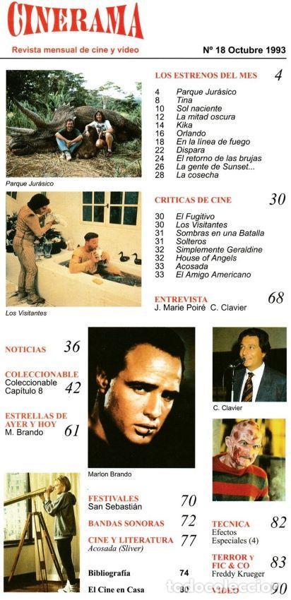 Cine: REVISTA - CINERAMA - Nº 18 - OCT. 1993 (PARQUE JURÁSICO / KIKA / MARLON BRANDO / FREDDY KRUEGER) - Foto 2 - 193323985