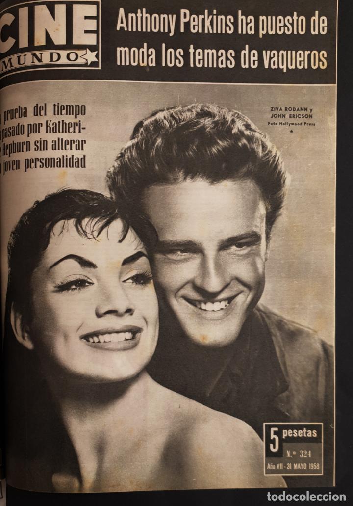 REVISTA CINE MUNDO 1958 JOHN ERICSON ZIVA RODANN ANTHONY PERKINS SARA MONTIEL LEX BARKER ZSA GABOR (Cine - Revistas - Otros)