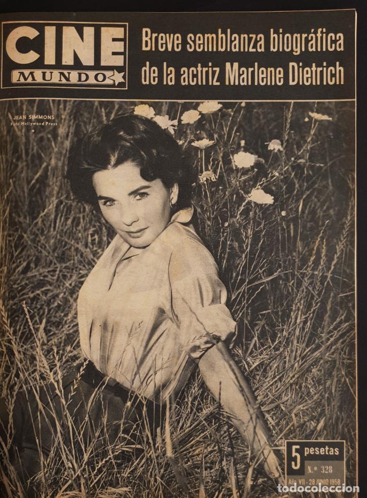 REVISTA CINE MUNDO 1958 JEAN SIMMONS MARLENE DIETRICH SOPHIA LOREN EN CONTRAPORTADA LANA TURNER (Cine - Revistas - Otros)