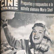 Cine: REVISTA CINE MUNDO 1958 SUSAN BEAUMONT MARIA SHELL ALAIN DELON INGRID BERGMAN LA MOSCA SANDRA WIRTH. Lote 194917512
