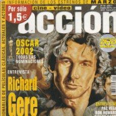 Cine: REVISTA CINE Y VIDIO ACCION PORTADA RICHARD GERE 20 PROGRAMA DE CINE (SIN PORTERS). Lote 195224676