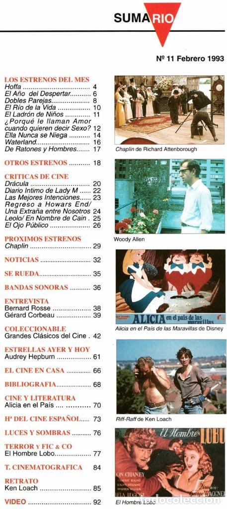 Cine: CINERAMA Nº 11-1993 (WOODY ALLEN/ AUDREY HEPBURN/ ALICIA PAIS MARAVILLA DISNEY/ HOMBRE LOBO/KEN LOAC - Foto 2 - 195898622