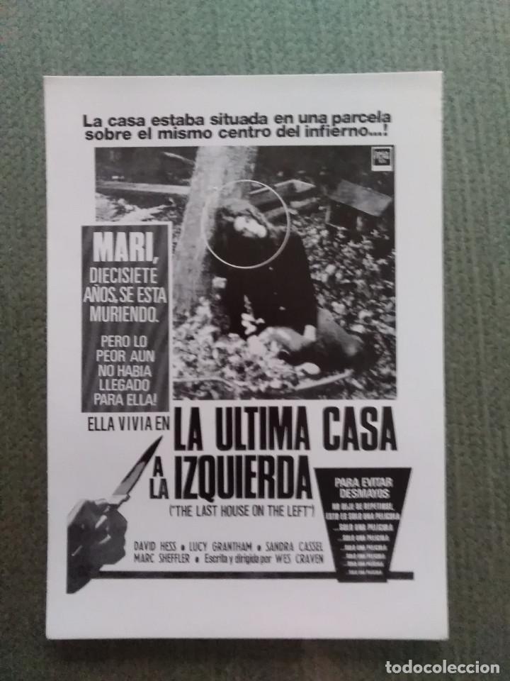 PROGRAMA DE CINE MODERNO LA ULTIMA CASA A LA IZQUIERDA (Cine - Reproducciones de carteles, folletos...)