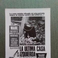 Cine: PROGRAMA DE CINE MODERNO LA ULTIMA CASA A LA IZQUIERDA. Lote 195940121