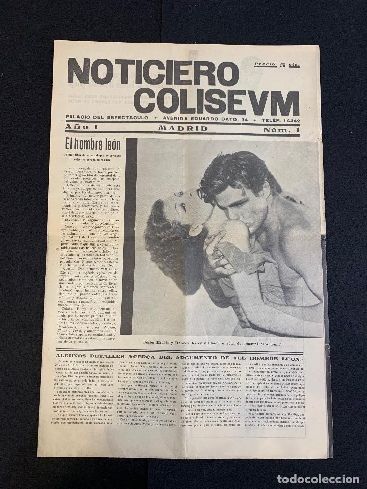 CINE - EL HOMBRE LEON - TARZAN - NOTICIERO COLISEUM - AÑO 1, N. 1 - 1933 (Cine - Revistas - Otros)