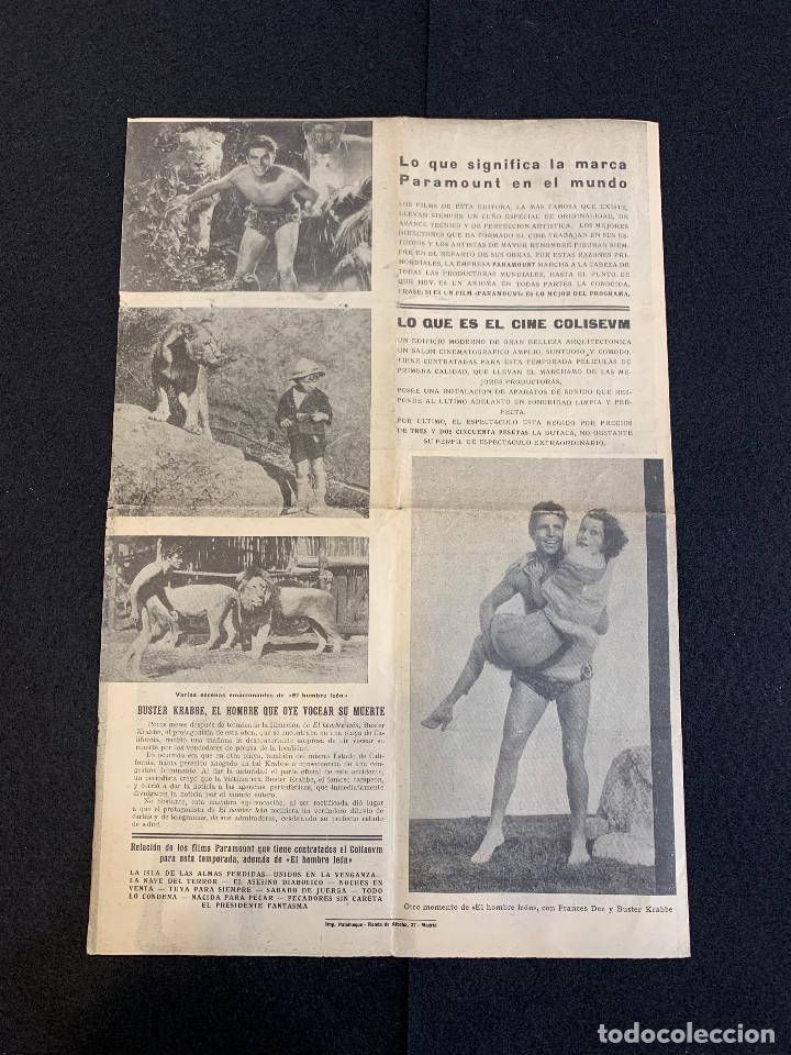 Cine: CINE - EL HOMBRE LEON - TARZAN - NOTICIERO COLISEUM - AÑO 1, N. 1 - 1933 - Foto 3 - 196750180