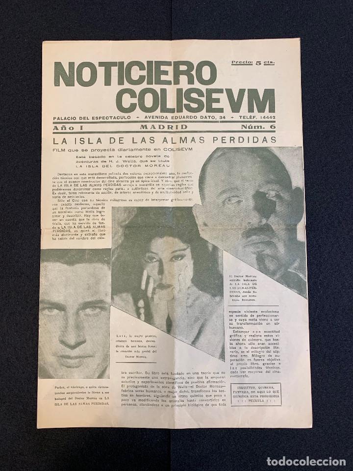 CINE - LA ISLA DE LAS ALMAS PERDIDAS - NOTICIERO COLISEUM - AÑO 1, N. 6 - 1933 (Cine - Revistas - Otros)