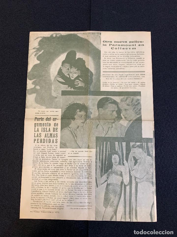 Cine: CINE - LA ISLA DE LAS ALMAS PERDIDAS - NOTICIERO COLISEUM - AÑO 1, N. 6 - 1933 - Foto 3 - 196750438