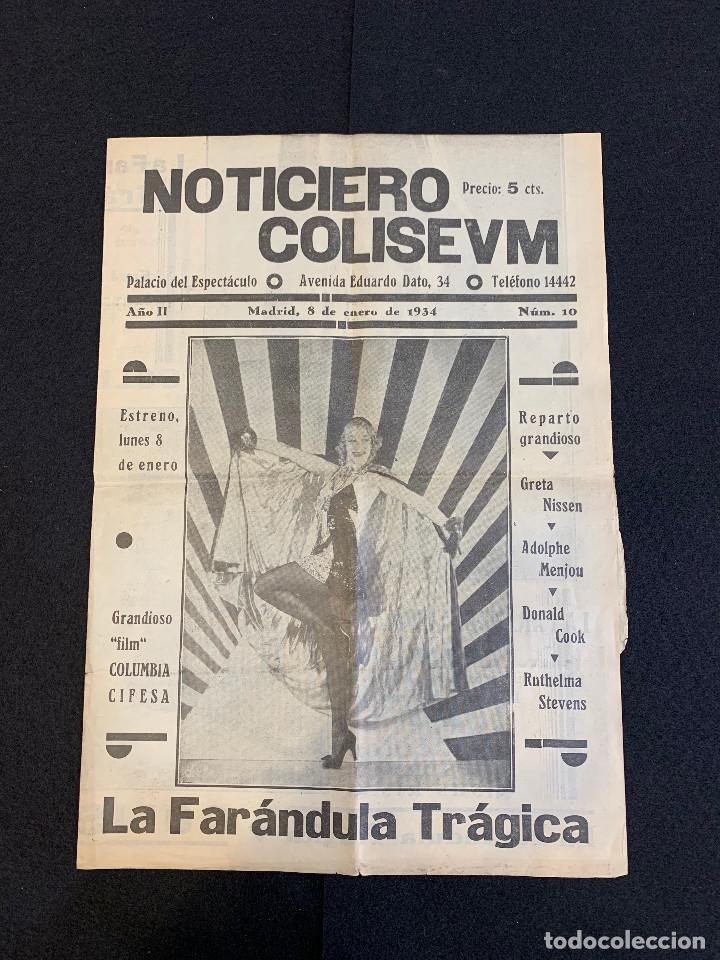 CINE - LA FARANDULA TRAGICA - NOTICIERO COLISEUM - AÑO 2, N. 10 - 1934 - CIRCO (Cine - Revistas - Otros)