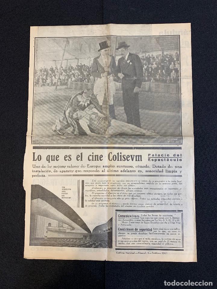 Cine: CINE - LA FARANDULA TRAGICA - NOTICIERO COLISEUM - AÑO 2, N. 10 - 1934 - CIRCO - Foto 3 - 196750982