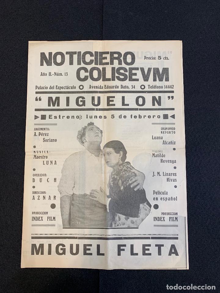 CINE - MIGUEL FLETA - NOTICIERO COLISEUM - AÑO 2, N. 13 - 1934 - OPERA (Cine - Revistas - Otros)