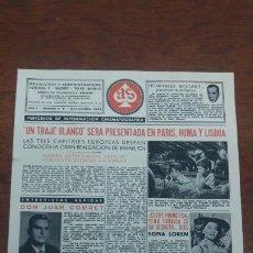 Cine: AS PERIODICO INFORMACION CINEMATOGRAFICA Nº 4 1956 SOFIA LOREN LA CHICA DEL RIO ATRACO EN LAS NUBES. Lote 197350665